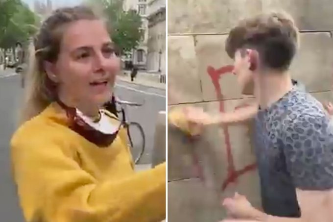 Watch as soldiers heckled by BLM protesters as they clean graffiti from memorials