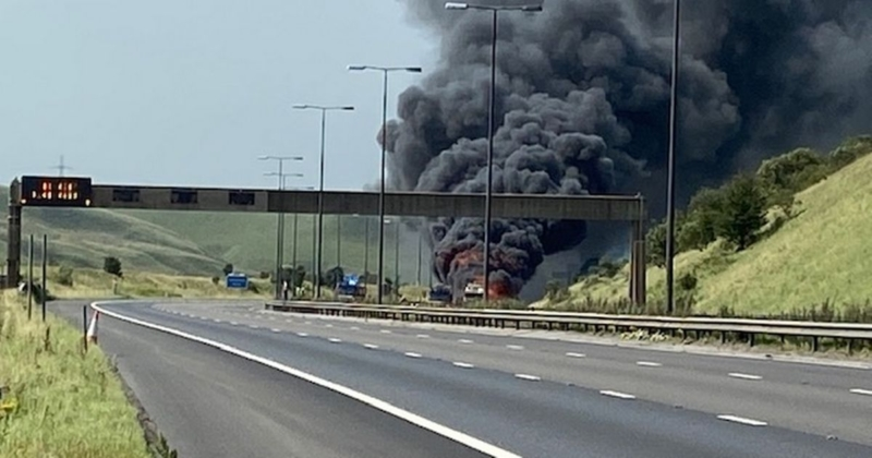 Breaking: Fire on M62 motorway sends black clouds into the air