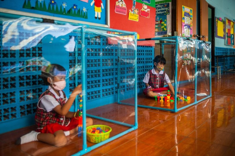 Nursery keeps children locked in pods alone to social distance