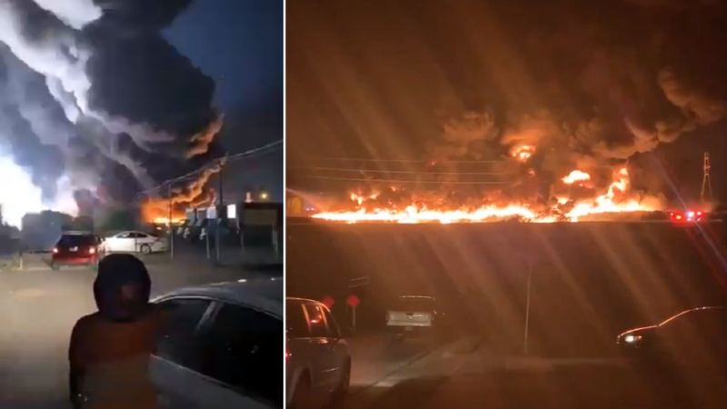 Watch as fire erupts across facility in Texas