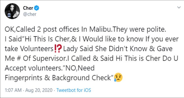 Cher rejected when she offered to help the Post Office