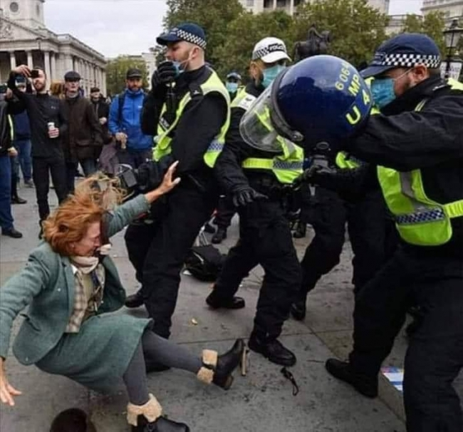 Police swing batons on anti-lockdown protesters in London's Trafalgar Square and stop health expert speaking to crowd