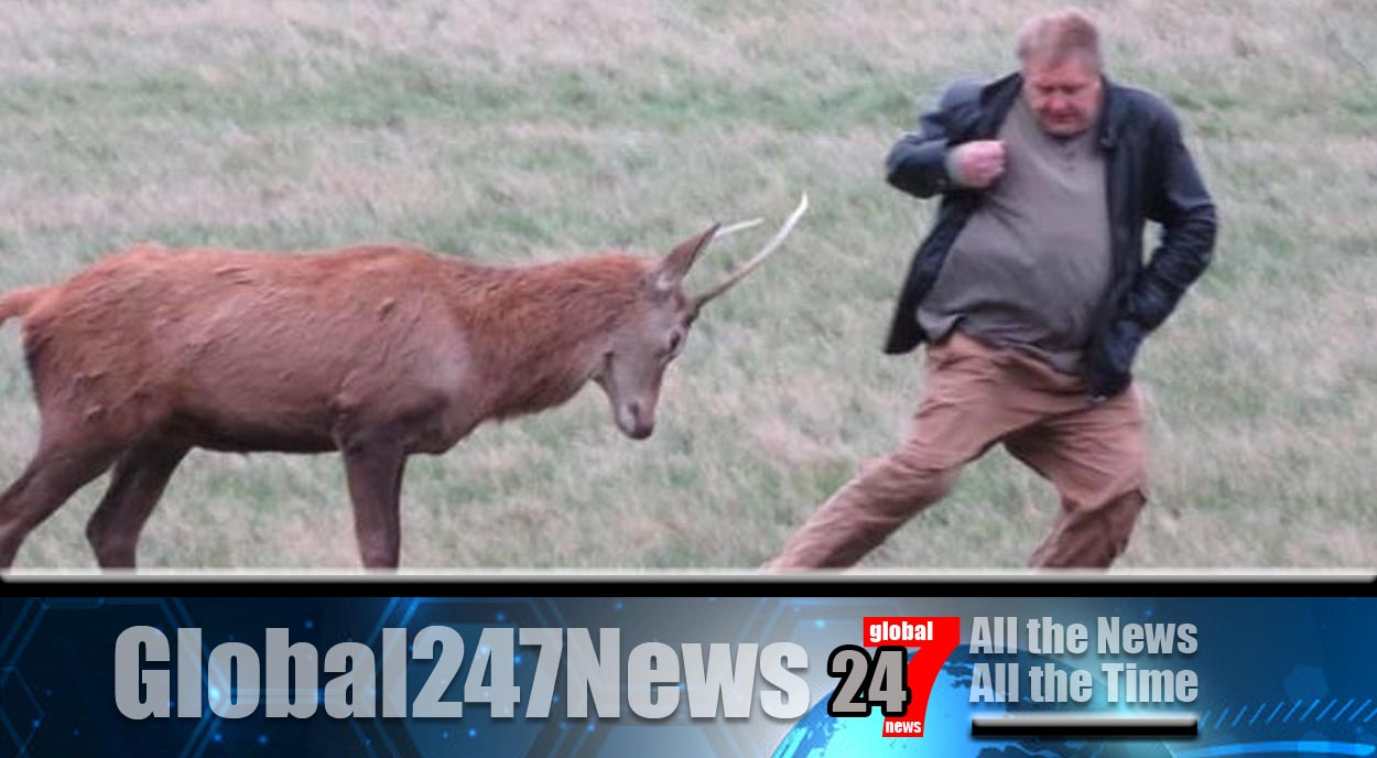 Photographs showing a man being charged at by a deer have been posted to social media site Twitter.