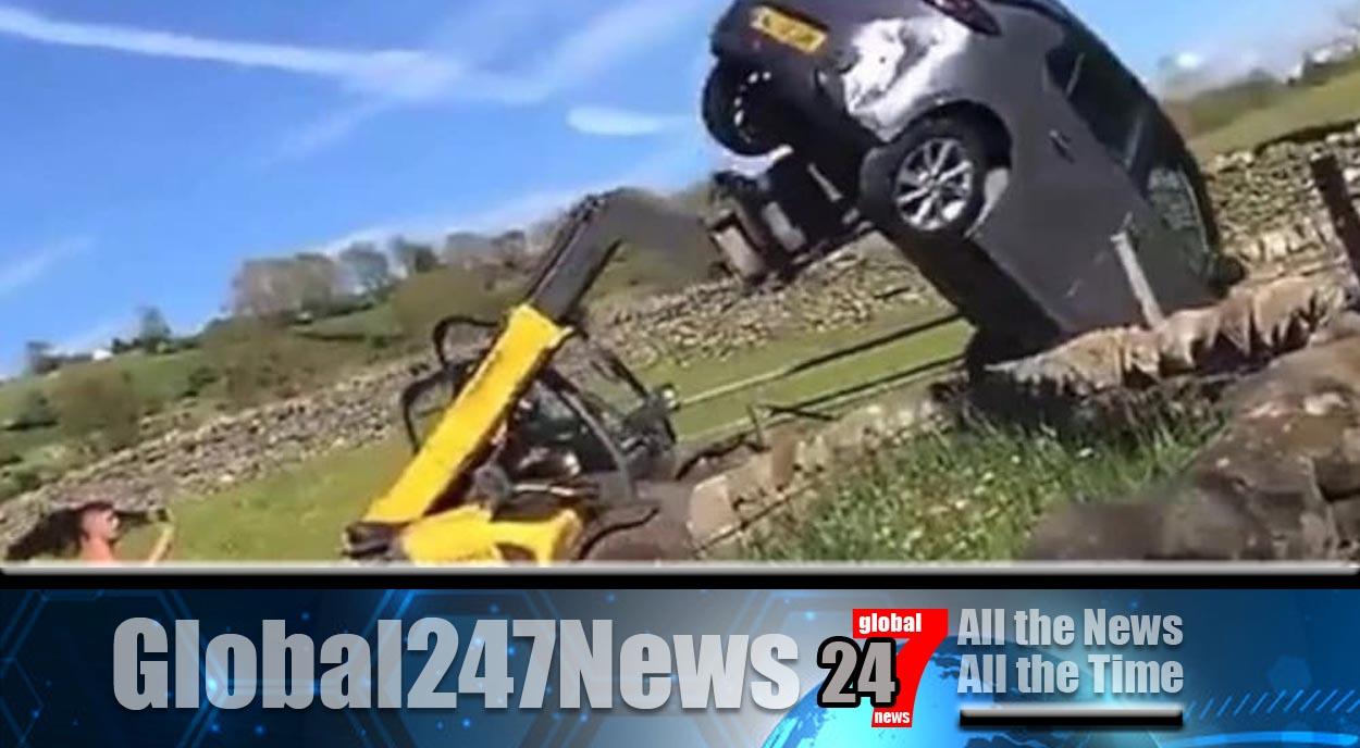 County Durham Farmer Forklifts car blocking his gate